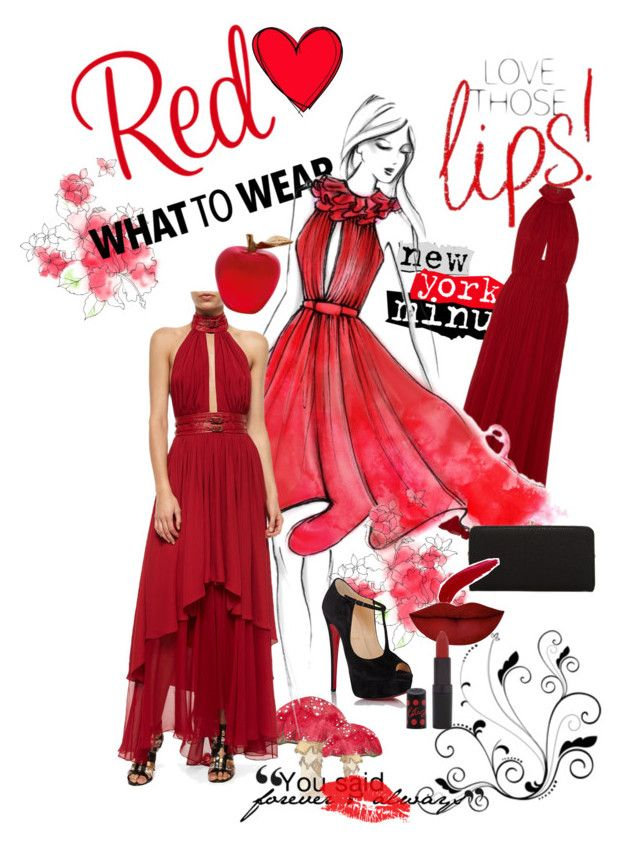 """To Red"" by marinarodrigues-2 ❤ liked on Polyvore featuring Elie Saab, Tamara Mellon, Daum, Christian Louboutin, Urban Expressions, TheBalm, Anastasia Beverly Hills, Rimmel, cool and red"
