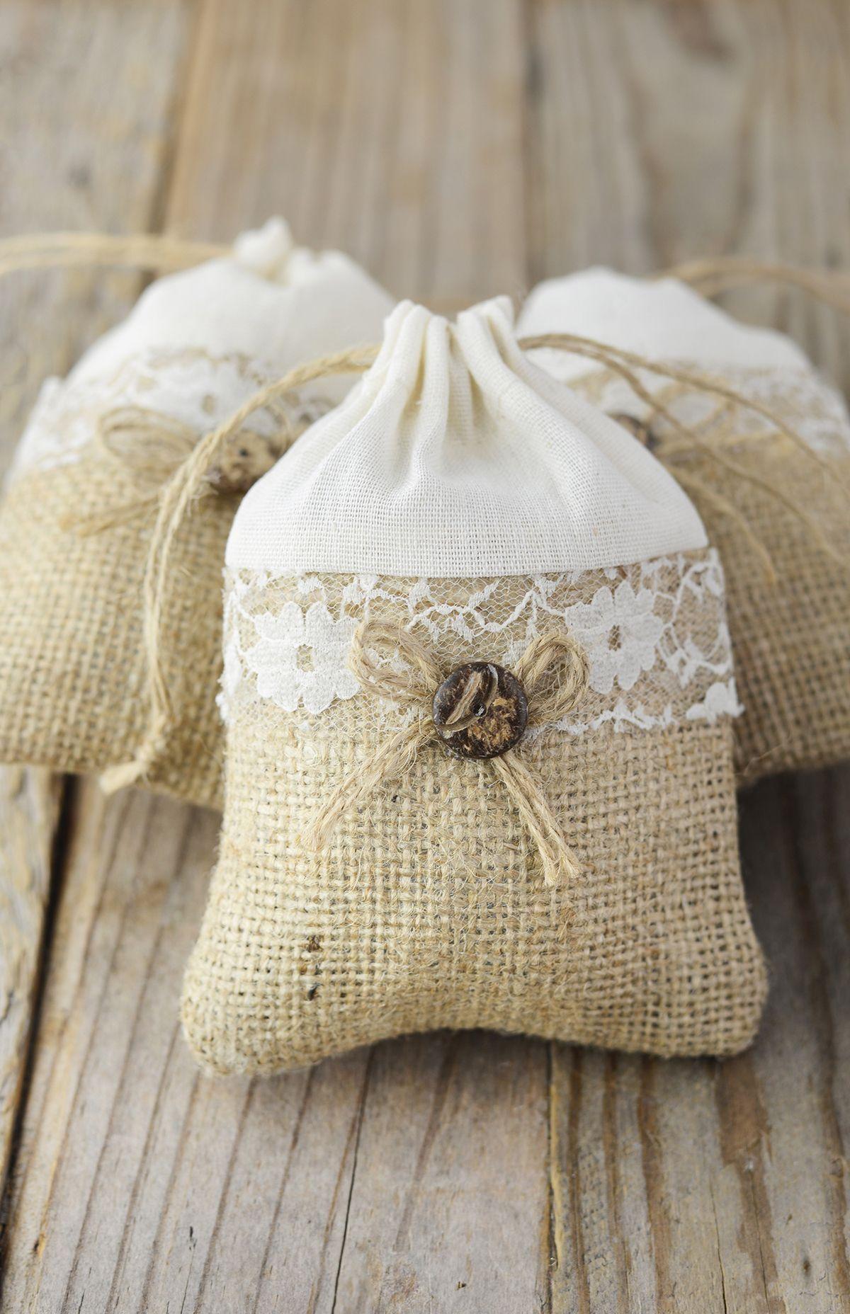 12 Burlap, Lace & Cotton 3x4 Favor Bags | Burlap lace, Favor bags ...