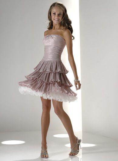 2014 Cheap Short Strapless Triple Tiered Taffeta Prom Dresses Shop ...
