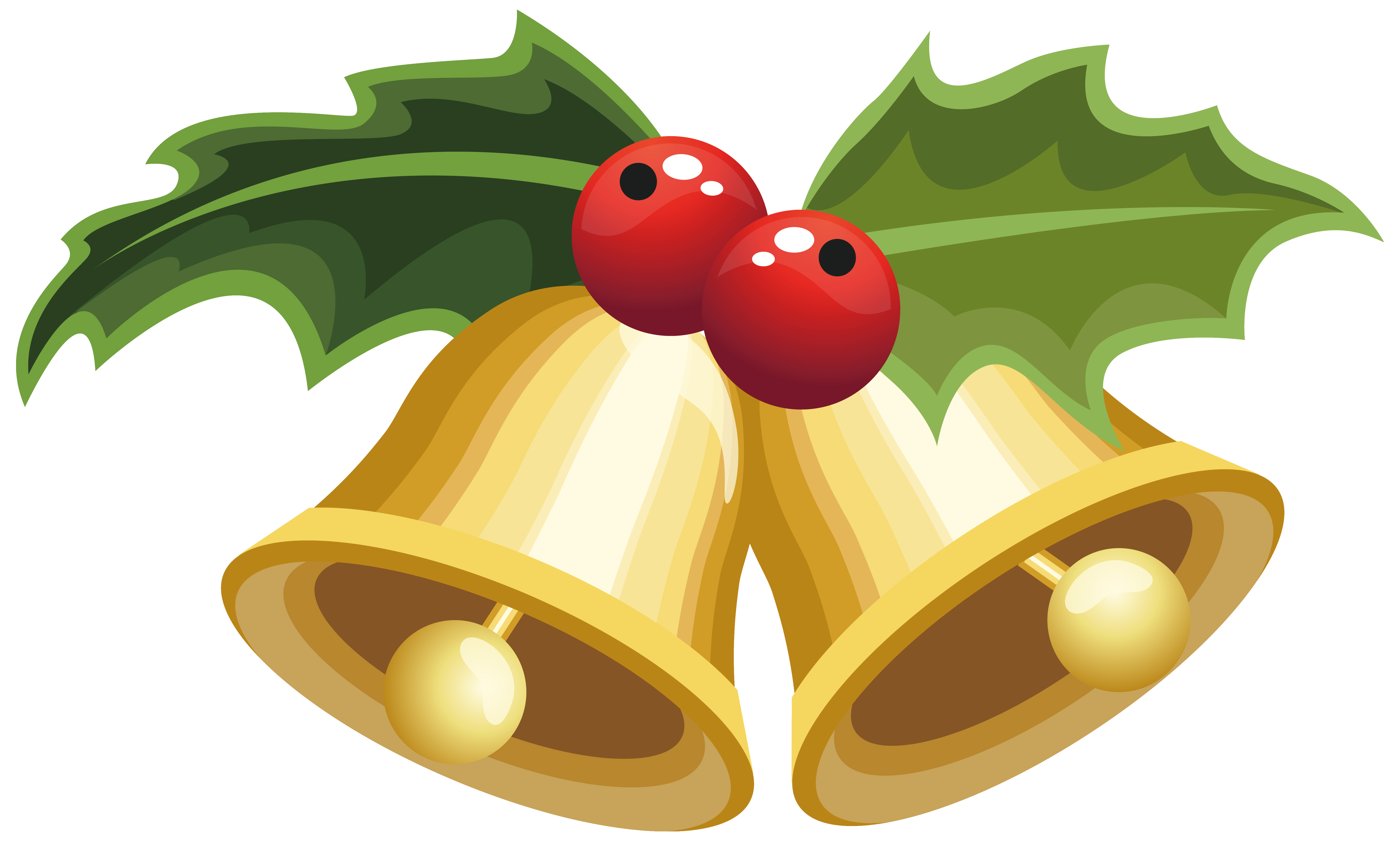 Christmas Bells with Mistletoe PNG Clipart Image | Gallery ...