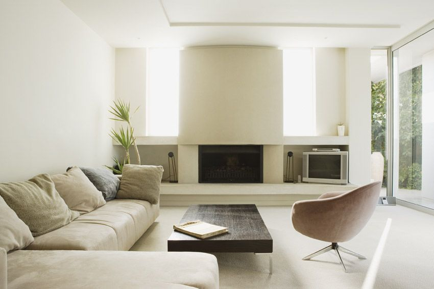 Modern room with white fireplace and beige furniture
