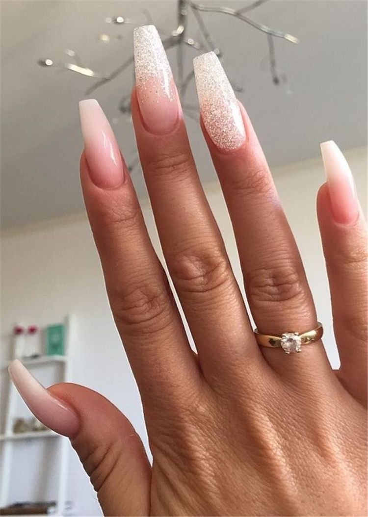 Attractive And Simple Winter Acrylic Coffin Nails To Try This Holiday Season Winter Nails In 2020 Acrylic Nail Designs Coffin Winter Nails Acrylic Long Nail Designs
