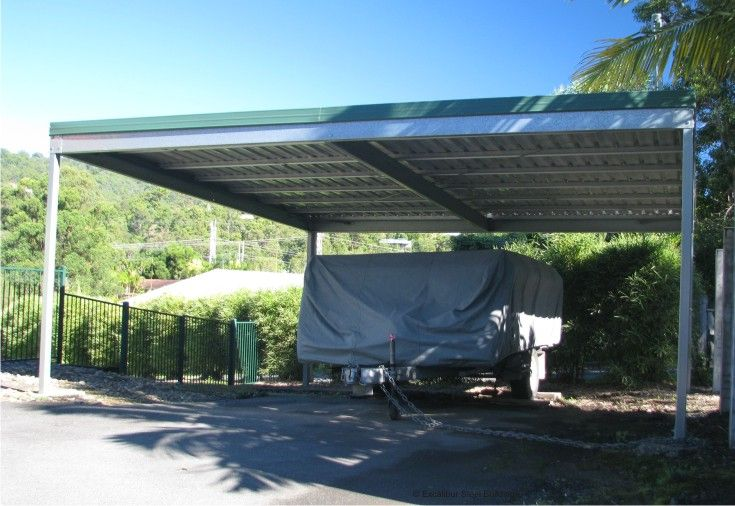 Double Carport Kit With A Skillion Roof For 2 Cars Or Car And Trailer Double Carport Skillion Roof Carports For Sale