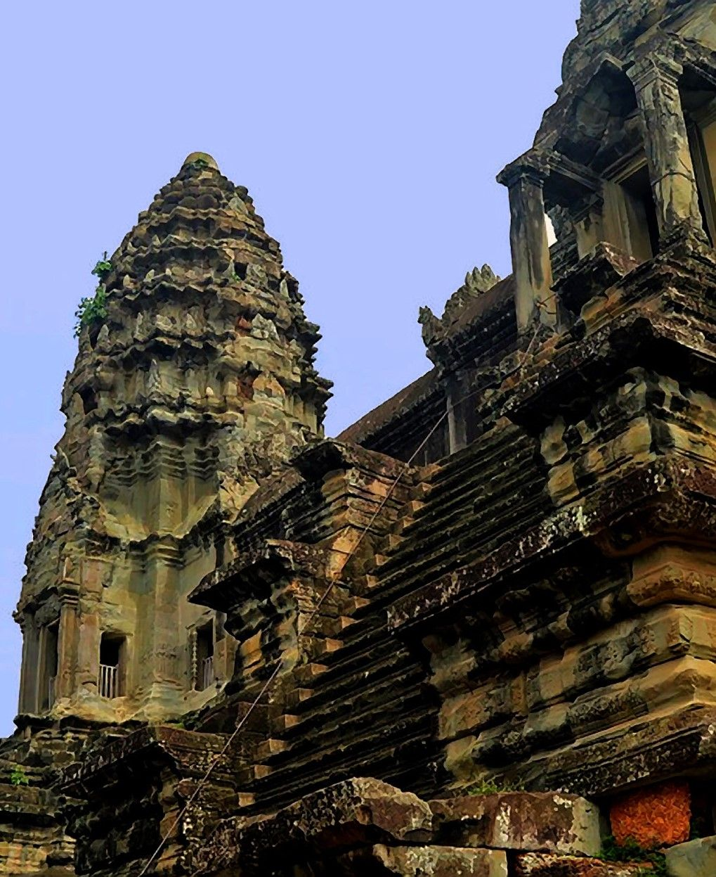 A tower of the main temple at the angkor wat complex of temples photo