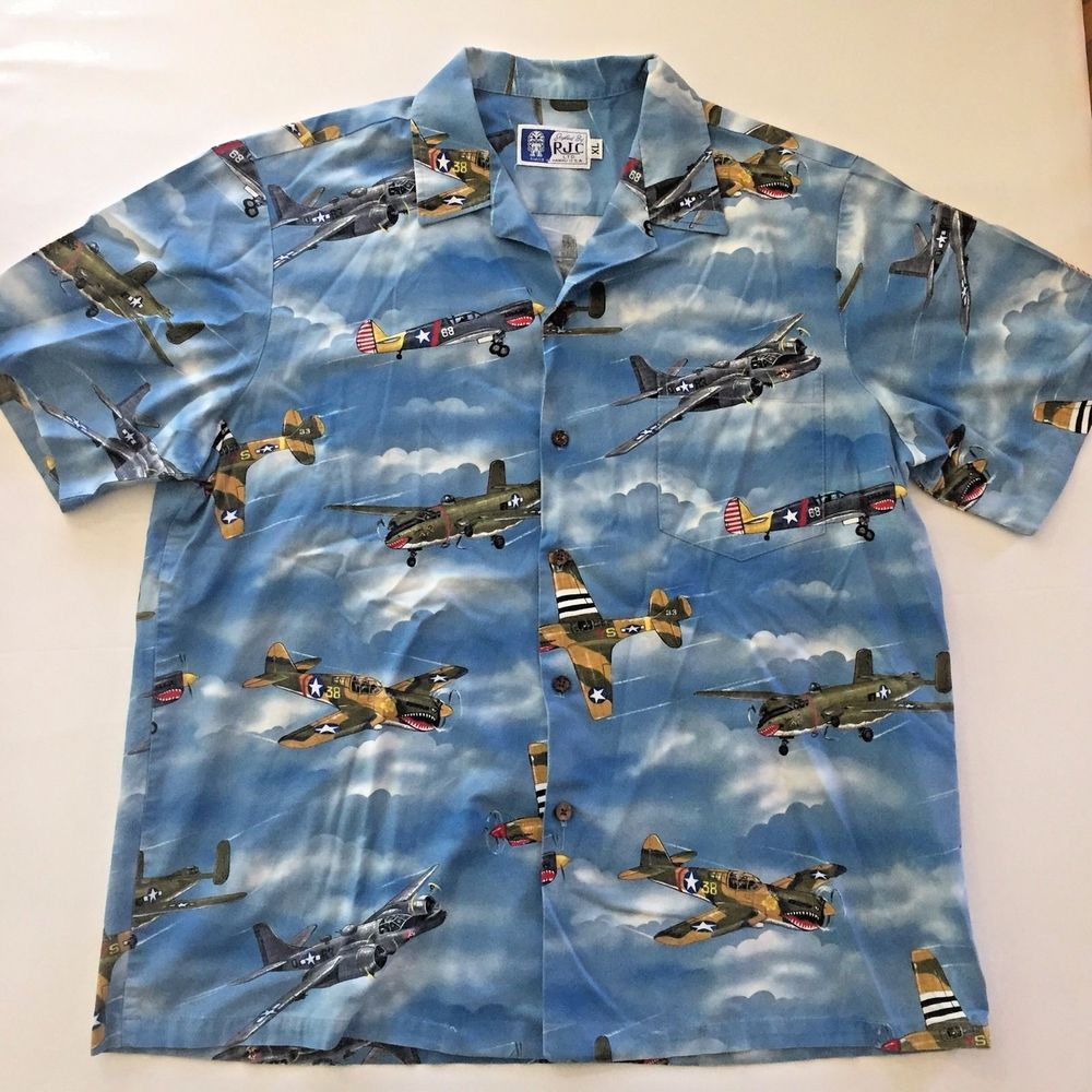 35ab9240a XL RJC Fighter Bomber Planes WWII Hawaiian Shirt Made in Hawaii World War 2  Mens #RJC #Hawaiian