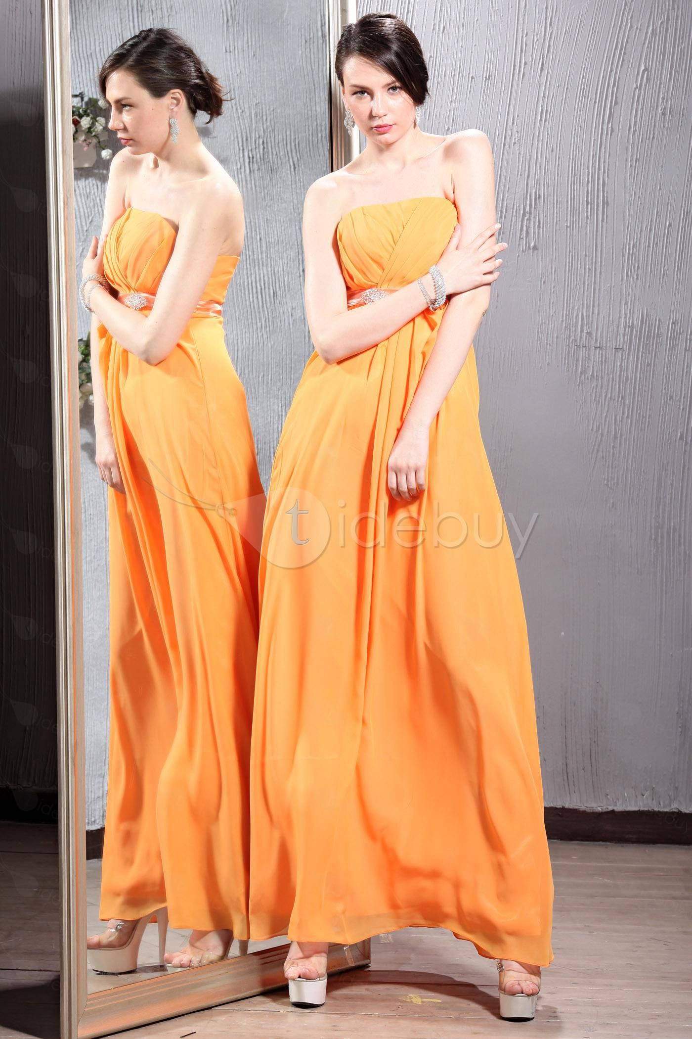 Concise Crystal Ruched A-Line Strapless Floor-length Luba's Bridesmaid Dresses (Free Shipping)   US$103.69