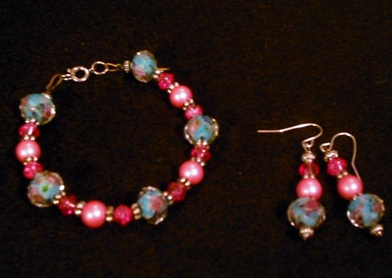 """16s-7"""" Blue rose beads, pink & silver beads & findings set *No Fees!* $10.00"""