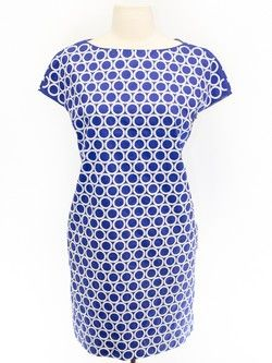 Diane von Furstenberg Size 4 Blue Short Sleeve Dress- lots of little white sequins on this dress for a very sophisticated geometric effect.