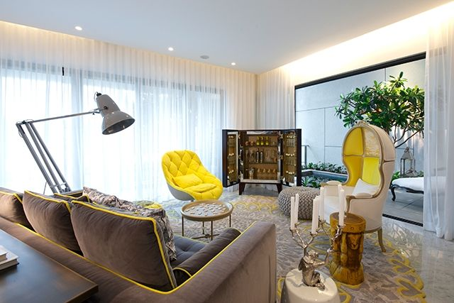 Yellow Tones Beautiful Living Room By Philippe Starck