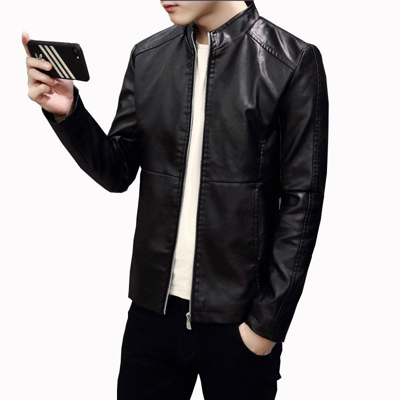 e29fc0055 US$25,63 - Mens Washable Business Motorcycle PU Leather Coat Stand ...