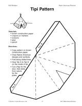 Paper teepee template tipi pattern indianen for Teepee craft template