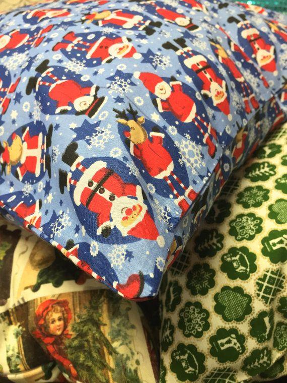 "SALE! Blue Snowmen Santa Christmas Design 18 by 18  Handmade Cushion XMAS  Decorative Pillow Cushion Cover 18""x18"" Prestige Fashion"