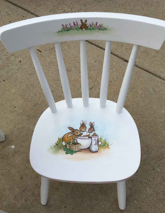 hand painted child s table set peter rabbit table set rectangle