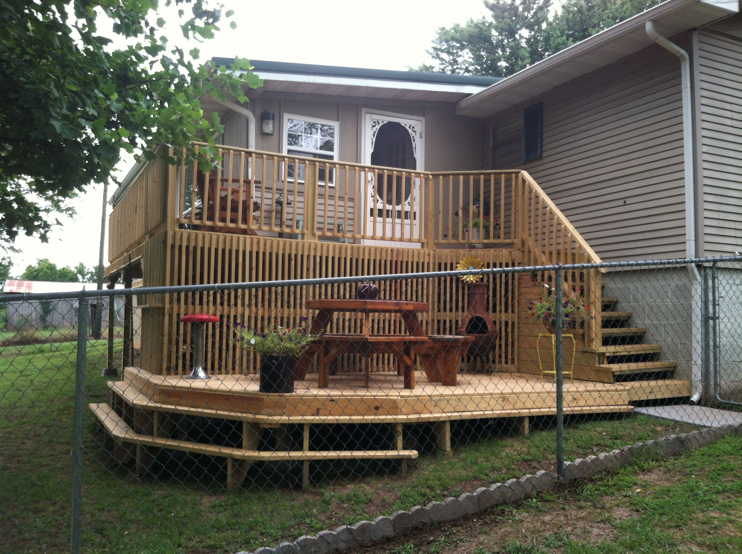 Split Level Porch Deck On My Home My First One Decks And Porches Diy Deck Outside Patio