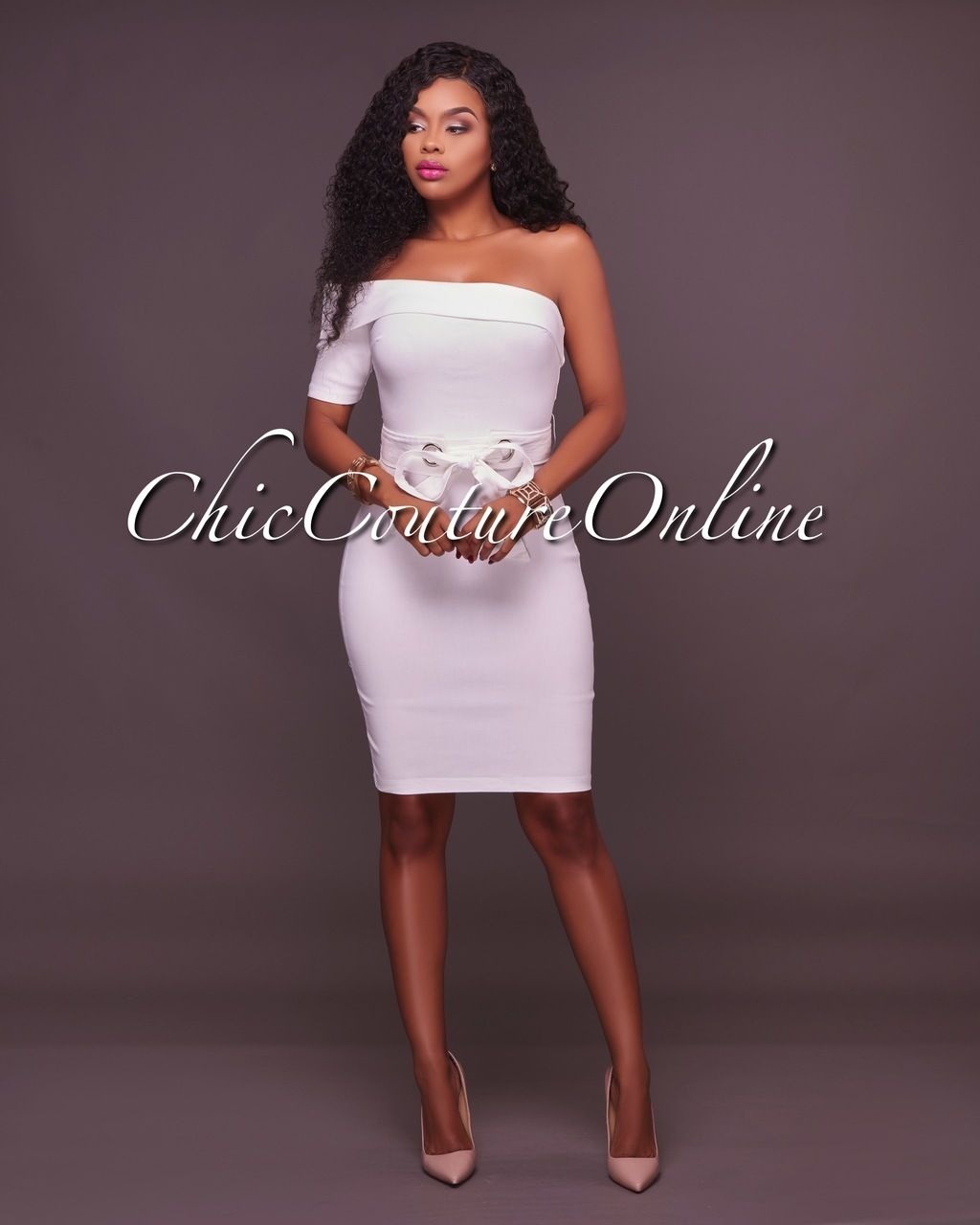 5fde2331bc Nicole White Fitted One Shoulder Dress in 2019