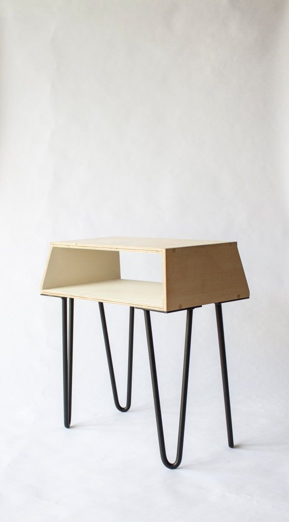 Wood And Metal Bedside Table: Scandinavian Steel Rod Assymetrical Painted Wood Bed Side