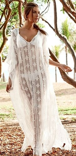9fc228f37d1 Floral Fantasy White Sheer Mesh Lace Long Sleeve V Neck Beach Caftan Maxi  Dress
