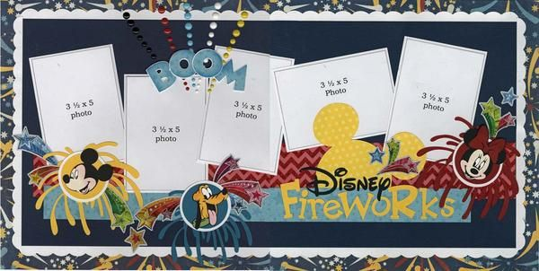Disney offers year-round sensational fireworks spectaculars! Scrap several of your amazing sparkle photos with these two fun pages. Embellishments include: enamel dots, an entire pack of foil stickers