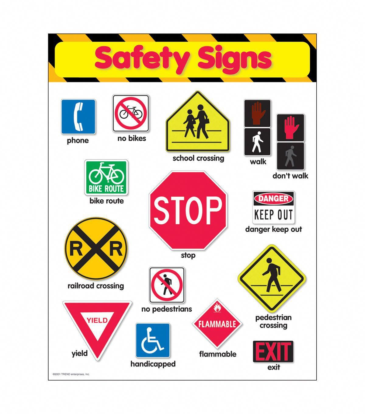 Safety Signs Learning Chart 17 X22 6pk