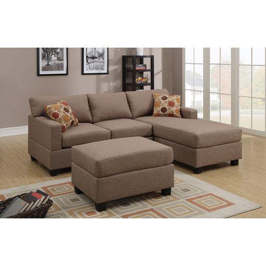 Poundex Bobkona Lexington Reversible Chaise Sectional Sofa