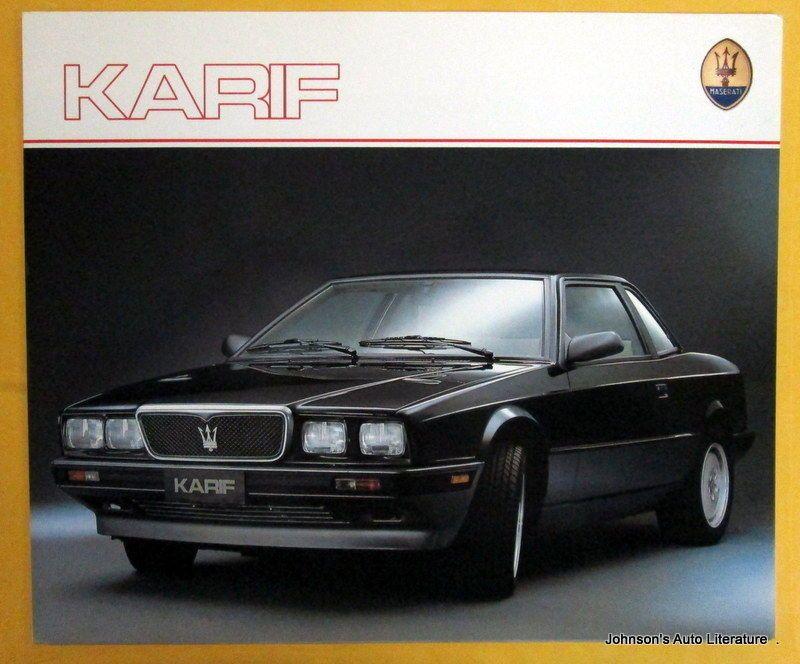 Maserati 1988-1992 Karif, Sales Brochure, w/ French Text | Maserati, Sales brochures, Maserati car