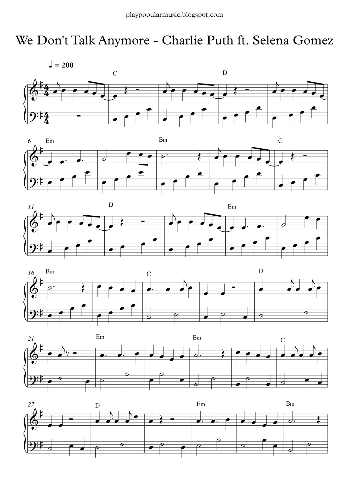 Free piano sheet music: Charlie Puth ft. Selena Gomez - We Don\'t ...