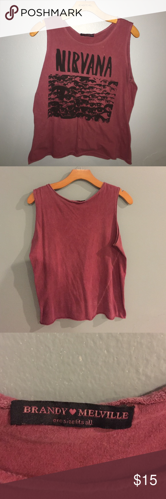 27ba4747 Brandy Melville Nirvana Muscle Tank Really cool faded burgundy red color.  In perfect condition,