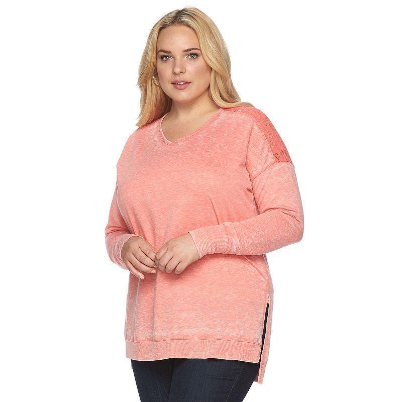Plus Size French Laundry Lace Yoke High-Low Top, Women's, Size: