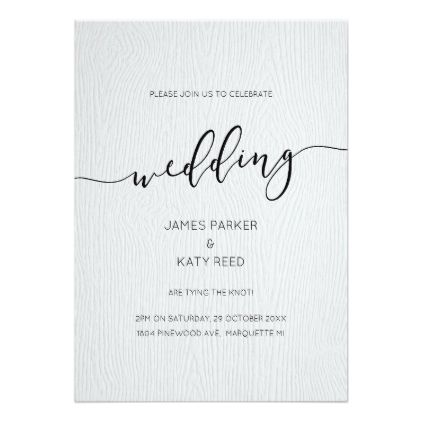 Faux wood embossed texture wedding invitation Weddings and Wedding