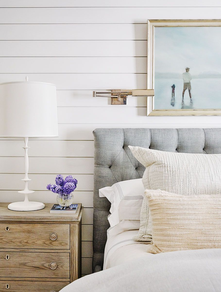 Shiplap wall in master bedroom for that