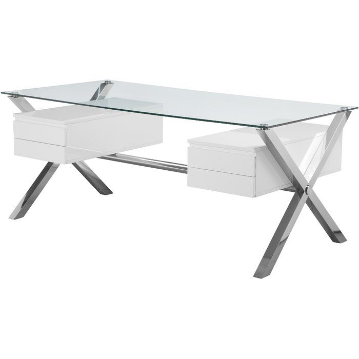 Ultra Modern Large Desk With 4 Pull Out Drawers Tempered Glass