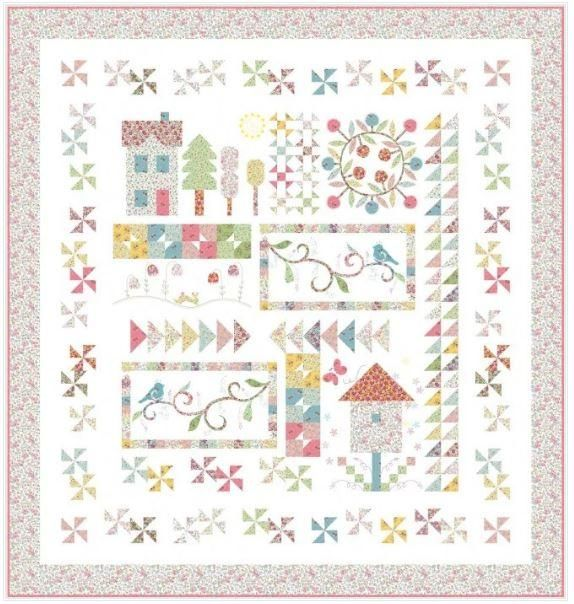 QT Fabrics, Spring on Bleecker Street Quilt Kit is part of Quilt patterns free, Quilts, Spring quilts, Free quilting, Quilt patterns, Quilt sewing - Fabrics in this quilt are from the collection Bleecker Street by QT Fabrics   Fabrics in the kit include what you need to complete the quilt top and the binding  Finished Quilt Meaures  64  X 68