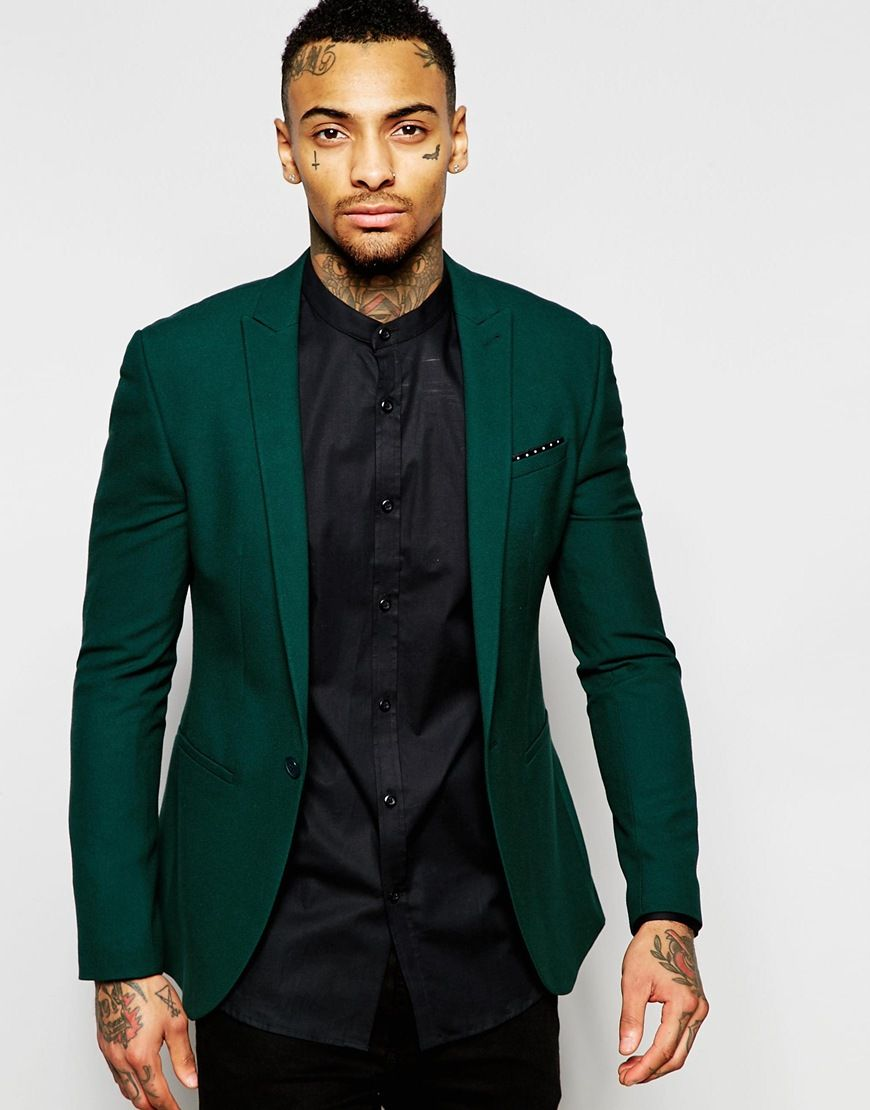 Image 1 of ASOS Super Skinny Suit Jacket In Green | Mens Fashion ...