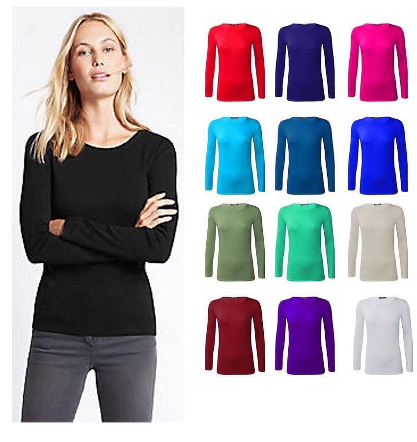 fb295dca7c4a69 Womens Plain T Shirt New Cotton Ladies Top Long Sleeve Round Neck Plus Size  Rn Cotton Ladies Shirt