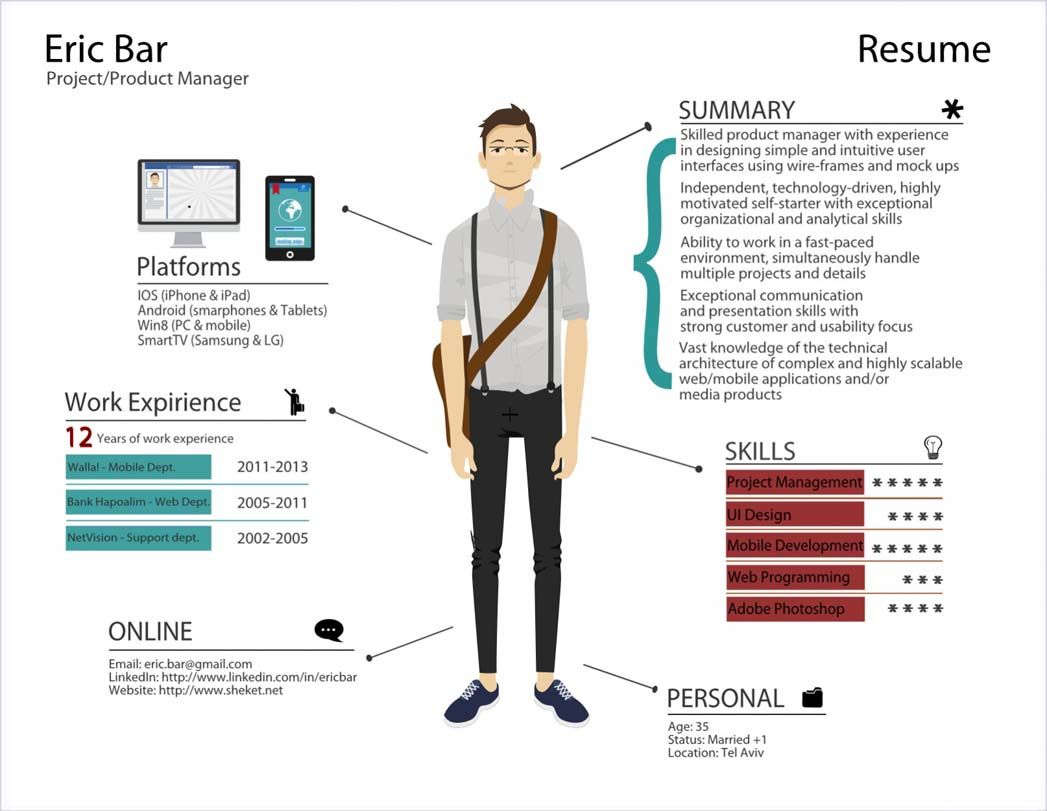 the resume of eric bar - Infographic Resume