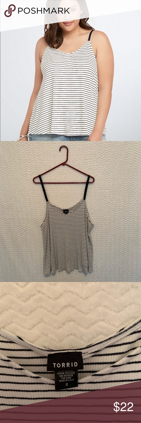 89cd3e44f206 Torrid Flowy Tank Navy and white striped, spaghetti style tank. Flattering  cut! Super cute on. 🖤Condition: Pre-owned. Excellent condition.