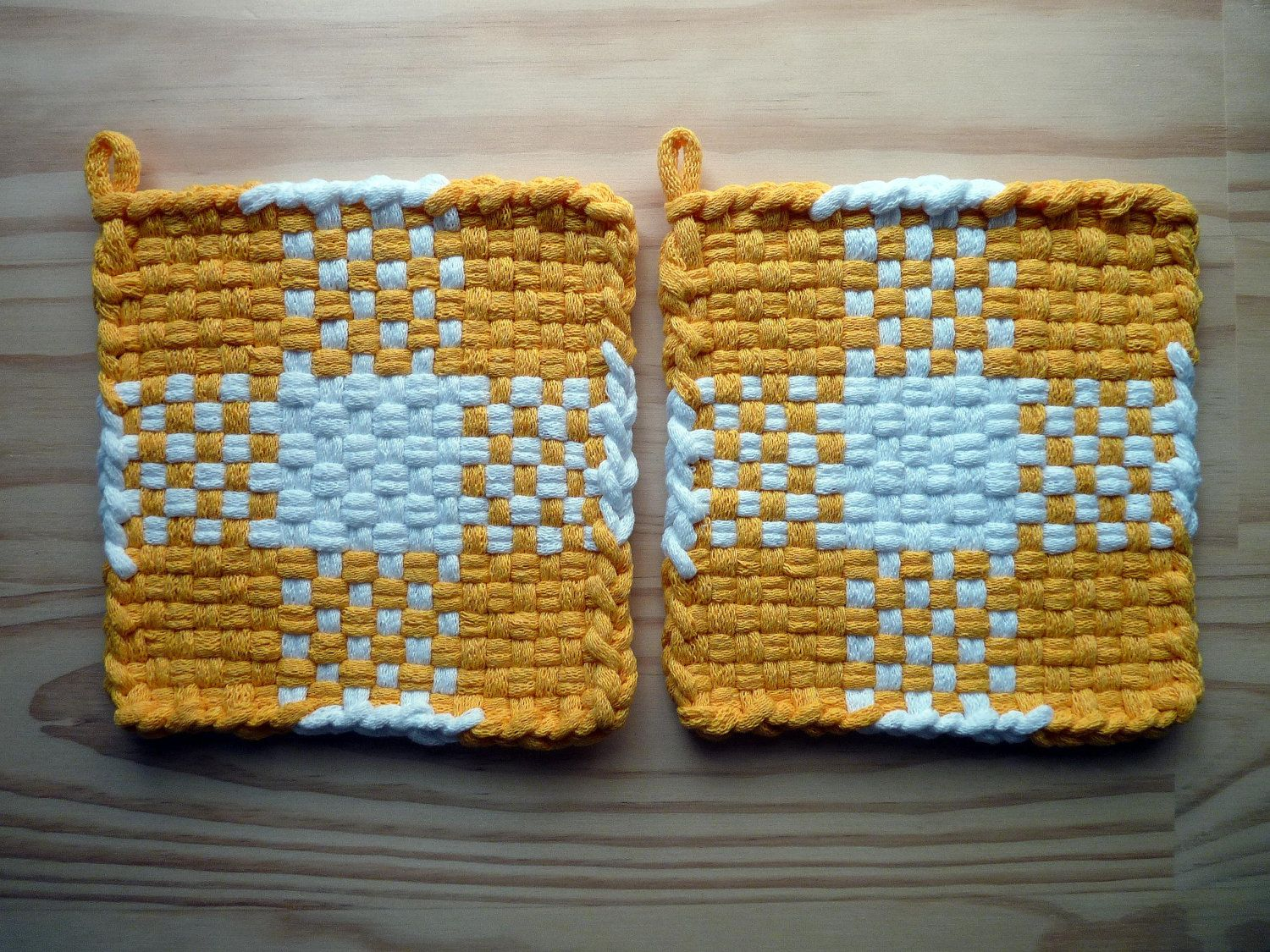 White pot holders for crafts - Blue And Yellow Check Color Block Pattern Woven Cotton Loop Loom Potholder Vintage Ikea Colors Modern Kitchen Farmhouse Style