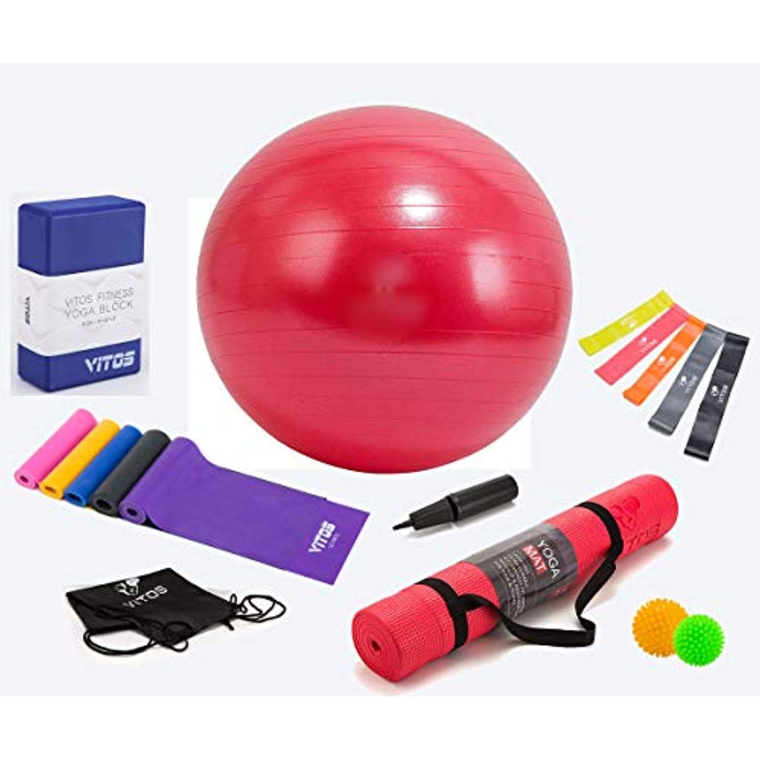 Hongville Vitos Yoga Set Multi Piece Set Include 1 4 Thick Exercise Mat W Strap Yoga Foam Block 5 Yoga Band Ball Exercises Thick Exercise Mat Massage Ball