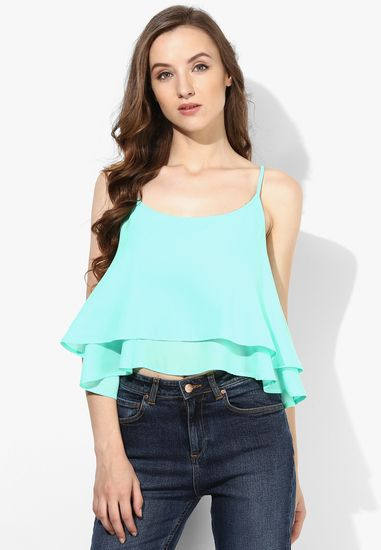 9b8668fb6812b0 Aqua blue crop top - Alia Bhatt For Jabong Tops and tunics for women ...