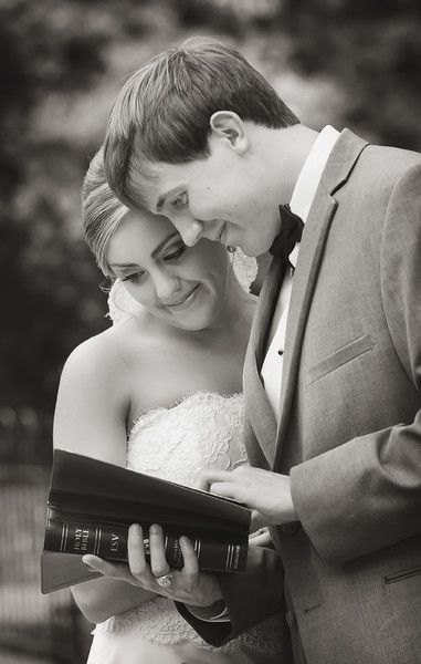 Bride and groom reading a bible verse on their wedding day in Columbia, SC.