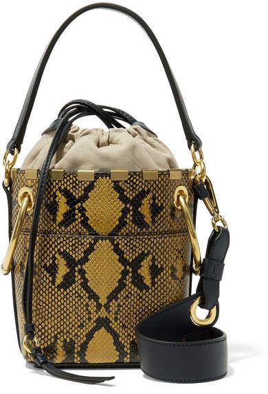 a3a21114451b2 Roy Mini Snake-effect Leather Bucket Bag - Snake print   inspired prints collection