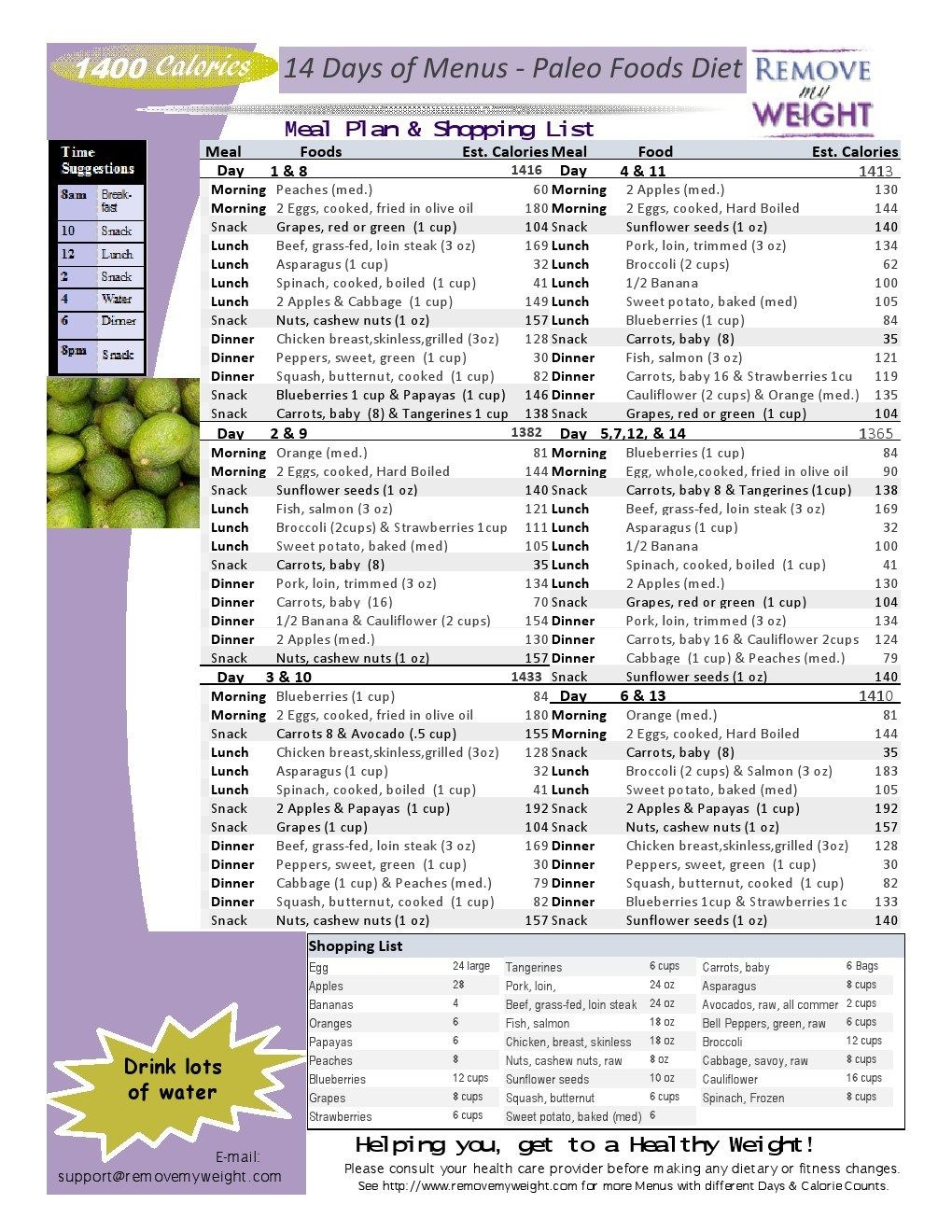 photograph regarding 1400 Calorie Meal Plan Printable called Printable 14 Working day 1400 Energy a working day Paleo Diet regime diet program within