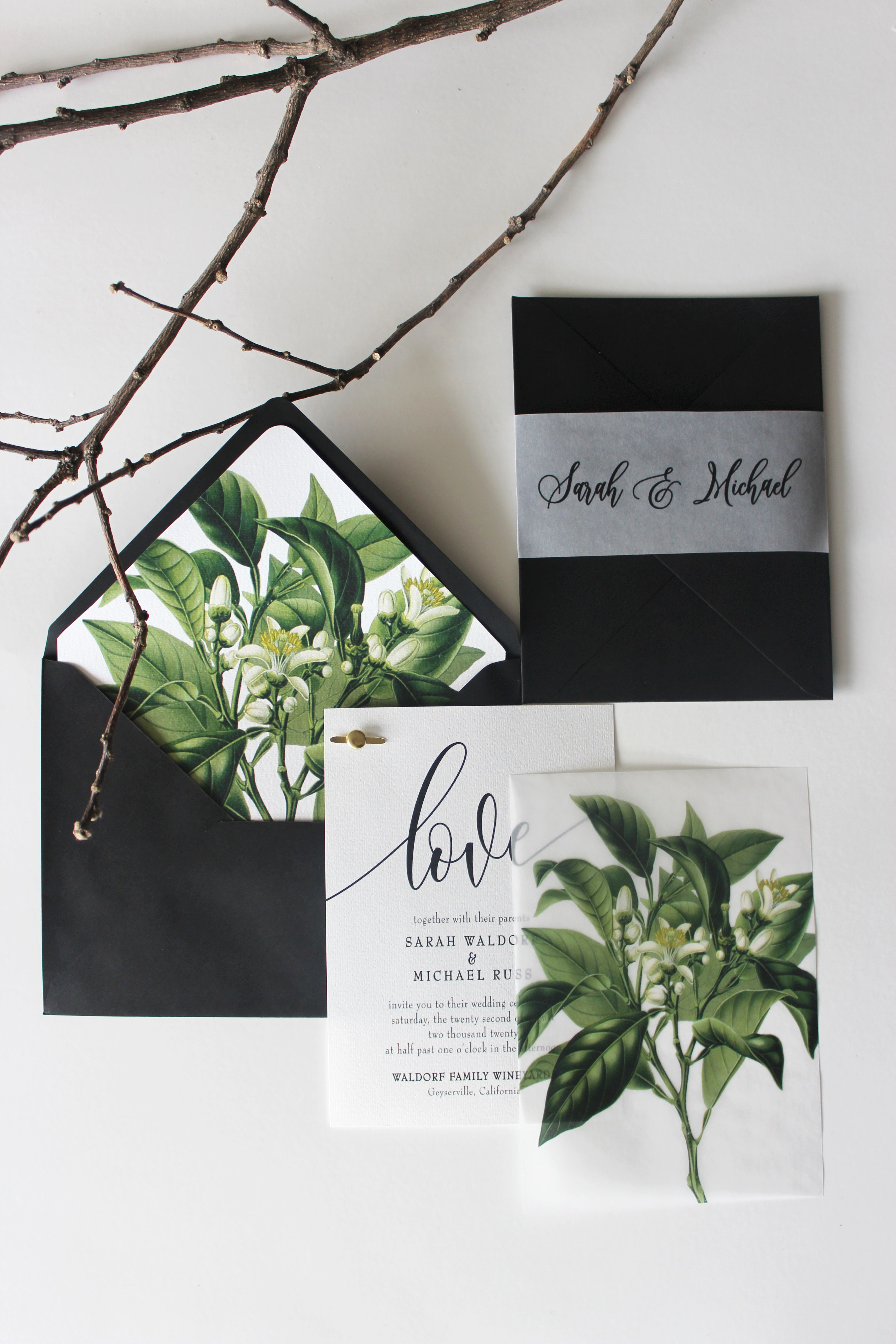 sending wedding invitations months before%0A Gorgeous vellum overlay wedding invitation  vellum belly band  greenery  botanical envelope liner  vellum