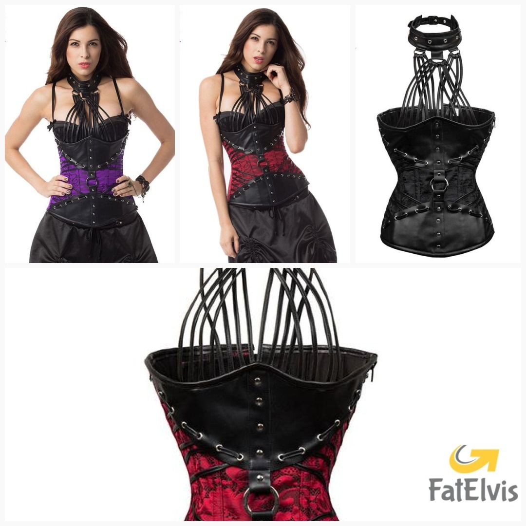 0996939e033 Red   Black Leather Steel Boned Underbust Corset Plus Size Bustiers   Corsets  6XL Gothic Victorian Steampunk Clothing for Women  men  bracelet  yogapants  ...