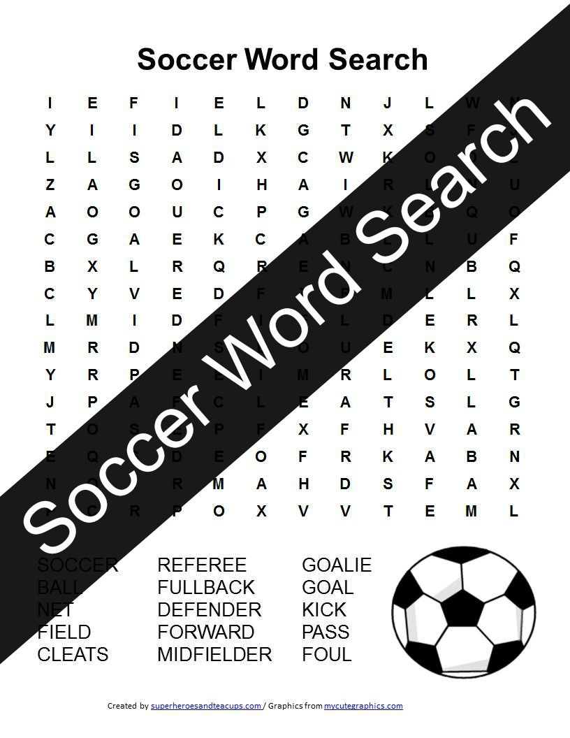 Soccer Word Search Free Printable Learning Ideas For Parents Printable Activities For Kids Soccer Crafts Free Printable Word Searches