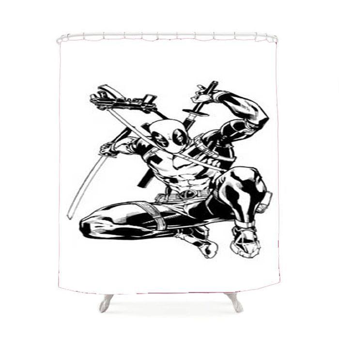 Deadpool Bw Jump Shower Curtain Curtains Shower Bathroom Gallery
