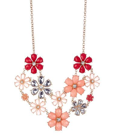 This Gold & Coral Flower Statement Bib Necklace by Olivia Welles Jewelry is perfect! #zulilyfinds
