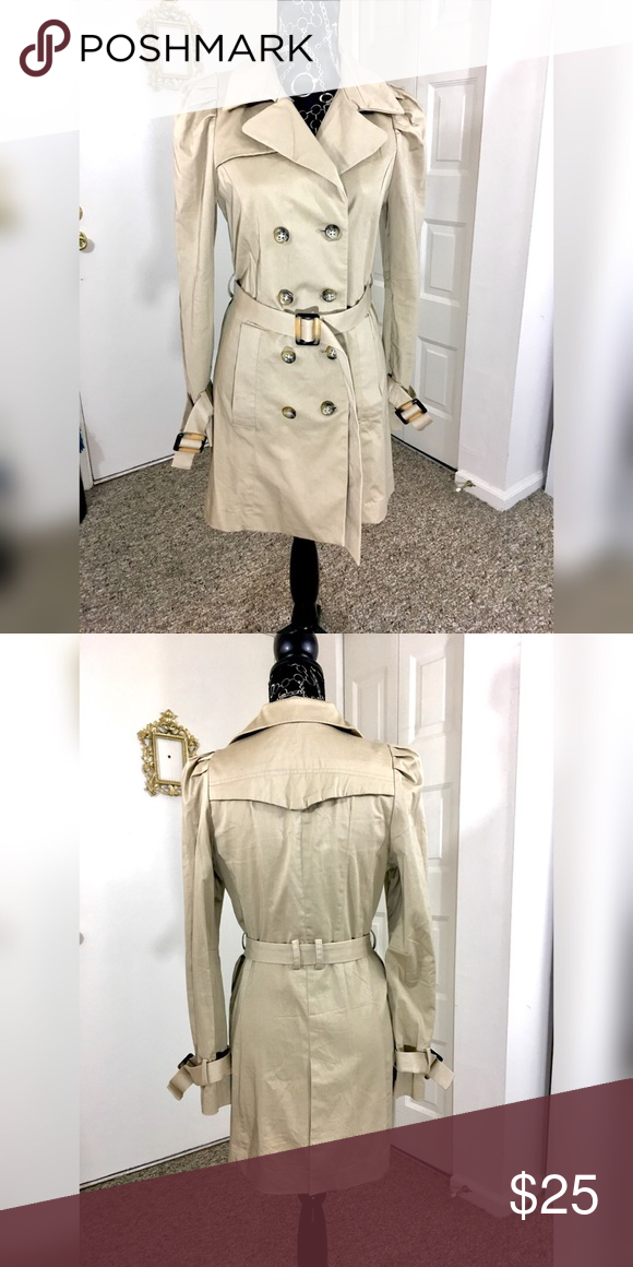 883d4423c Modern Trench Coat With Puff Sleeves Never worn! Just a little too ...