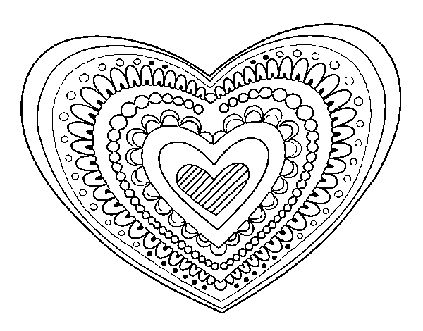 Coloring Page Heart Mandala To Color Online Coloringcrew Com