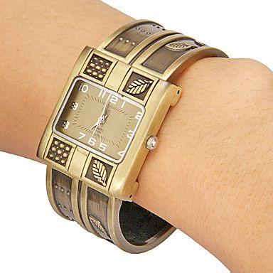 Vrouwen Patroon van het Blad rechthoek Dial legering band Quartz analoog armband horloge (verschillende kleuren) – EUR € 9.45